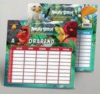 Angry Birds órarend 16x17 cm, közepes, kétoldalas, Movie