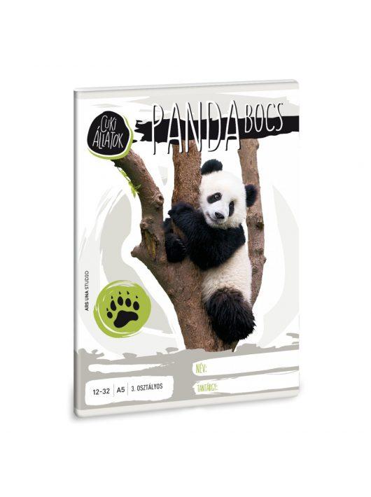 Cuki állatok tűzött füzet A/5, 32 lap vonalas 3.osztály (12-32), panda