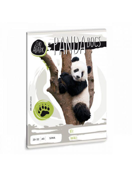 Cuki állatok tűzött füzet A/5, 32 lap sima, panda