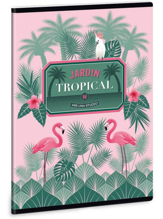 Pink flamingó tűzött füzet A/5, 40 lap kockás