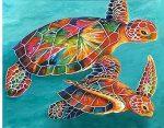 Gyémántfestés szett, teknősbékák, 48x38cm