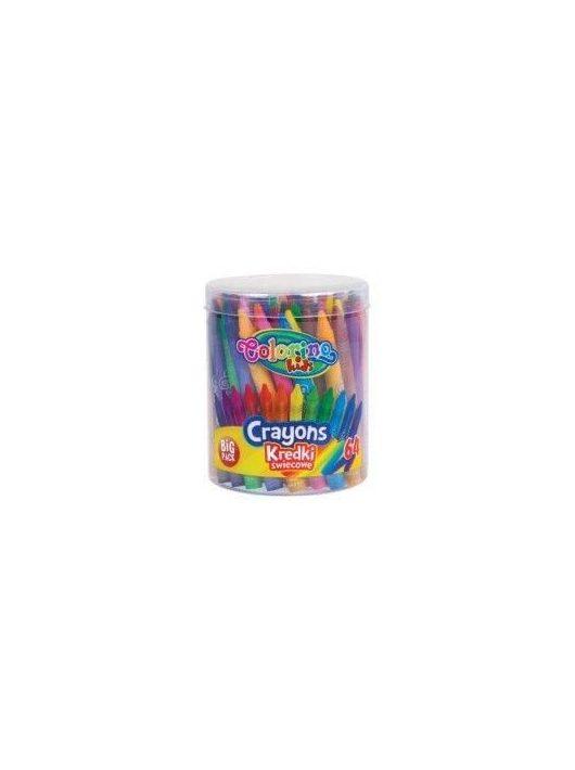 Zsírkréta készlet, tégelyes, 64 db-os, Colorino