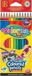 Aquarell színes ceruzakészlet + ecset, 12 db-os, Colorino, hatszög test