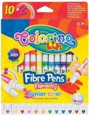 Filctoll készlet 10+2db-os (2db fluo szín), Colorino JUNIOR 3+