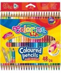 Színes ceruzakészlet 24/48, DUO (kétvégű), háromszög, Colorino