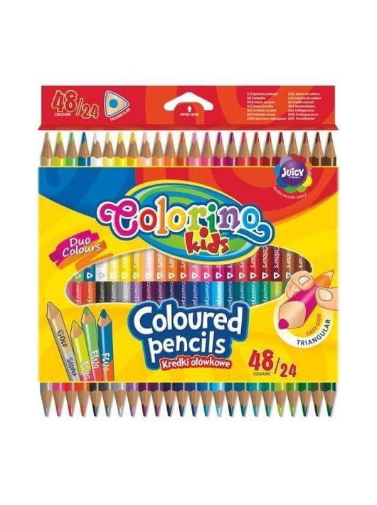 Színes ceruzakészlet 24/48, DUO (kétvégű), Colorino trio, háromszög test