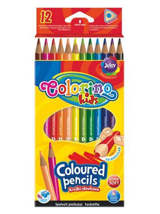 Színes ceruzakészlet 12 db-os, Colorino trio, háromszög test