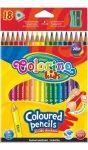 Színes ceruzakészlet 18db-os, (1db fluo), trio, hegyezővel, Colorino