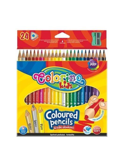 Színes ceruzakészlet 24 db-os, hegyezővel, Colorino trio, háromszög test