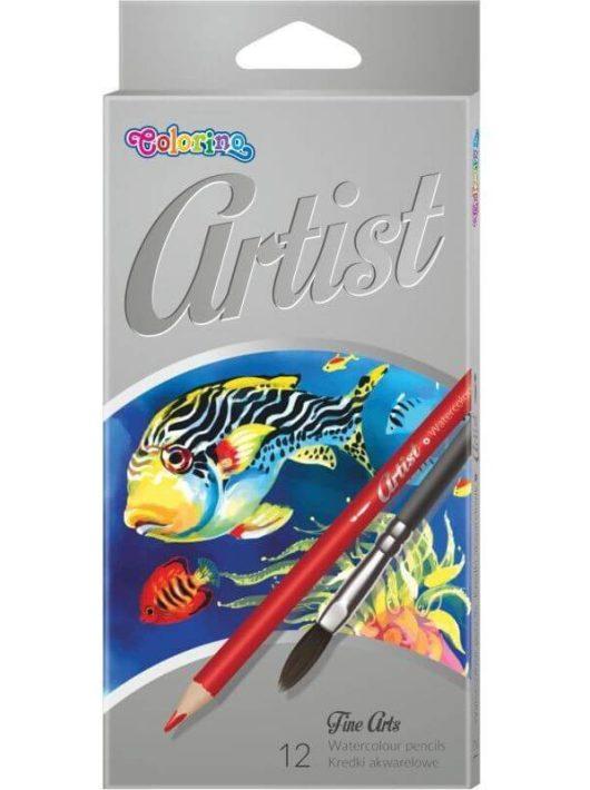 Aquarell színes ceruzakészlet + ecset, 12 db-os, Colorino Artist, kerek