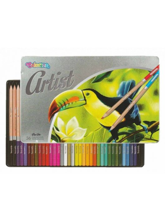 Színes ceruzakészlet 36 db-os, fémdobozos, Colorino Artist, kerek