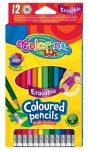 Színes ceruzakészlet 12db-os, radírozható, Colorin