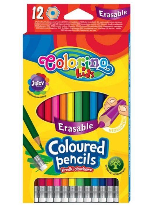 Színes ceruzakészlet 12 db-os, radír véggel, radírozható, Colorino, hatszög test