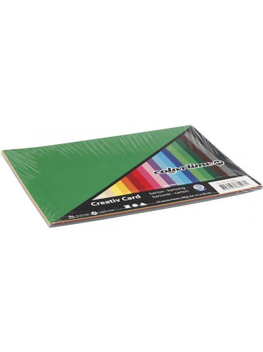 Színes karton, A/4, 180g, 20 szín, 30 lap/cs