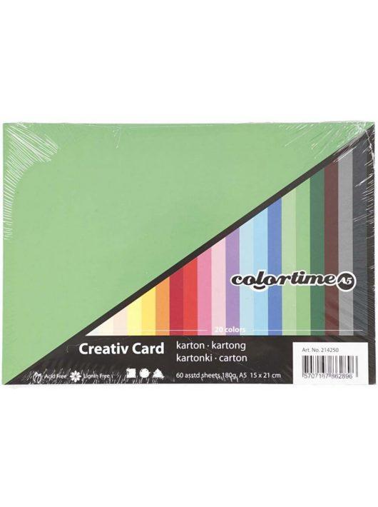 Színes karton, A/5, 180g, 20 szín, 60 lap/cs
