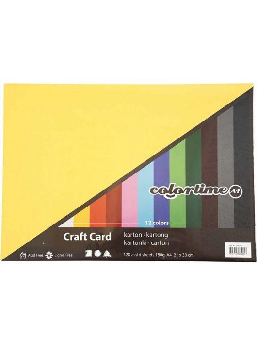 Színes karton, A/4, 180g, 12 szín, 120 lap/cs