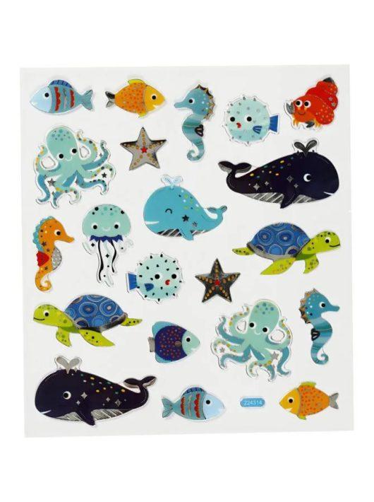 Matrica, tengeri állatok, 15x17cm