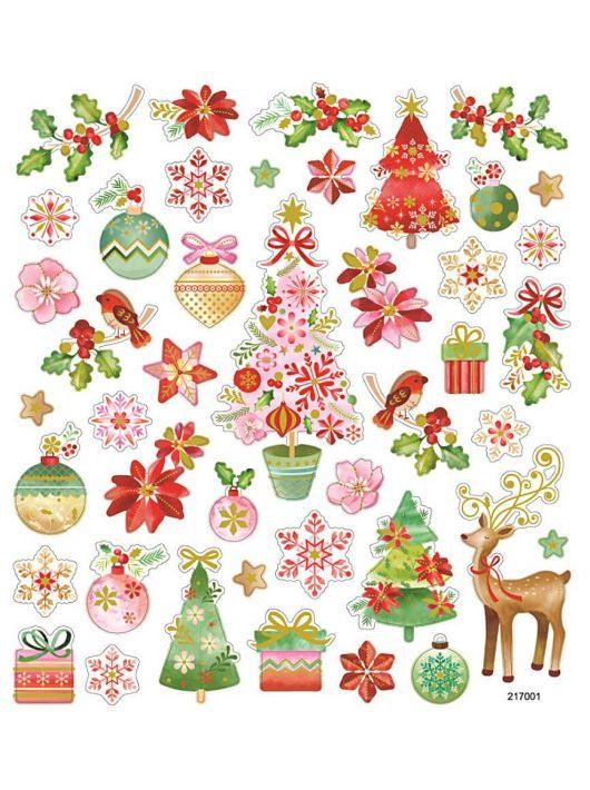 Karácsonyi matrica, romantika, 15x17cm