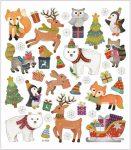Matrica, karácsonyi állatok, 15x17cm
