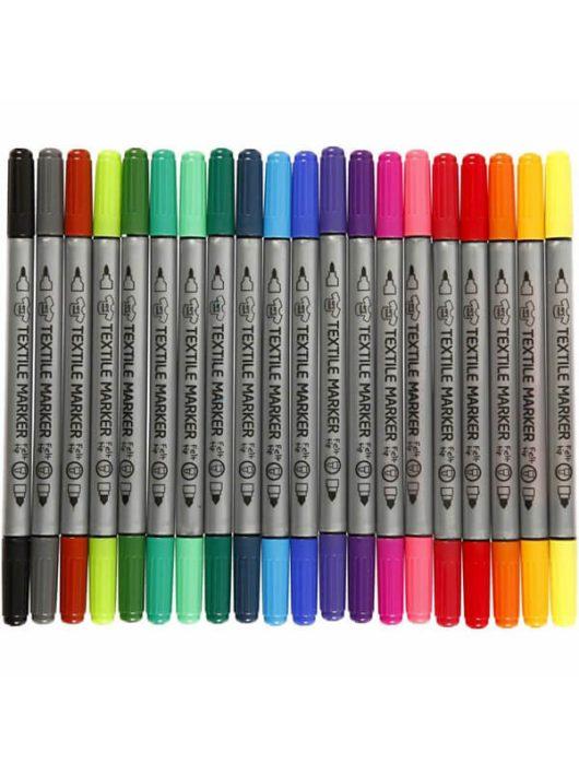 Textilfilc, kétvégű (2,3 mm és 3,6mm), 20 db-os, alap színek