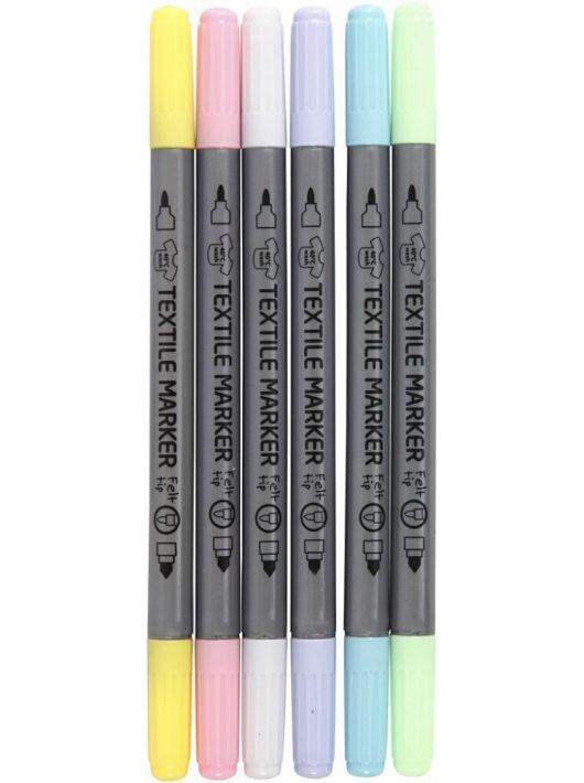 Textilfilc, kétvégű (2,3 mm és 3,6mm), 6 db-os, pasztell színek