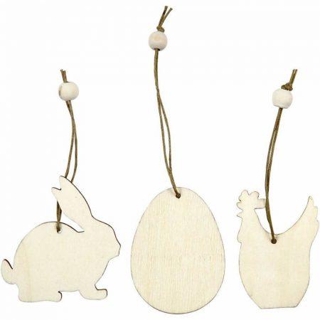 Fafigurák akasztóval, húsvéti, 3 db/csomag (nyuszi, tojás, tyúk), 6 cm