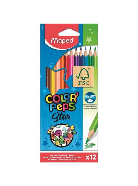 Színes ceruzakészlet 12 db-os, háromszög, Maped Color Peps