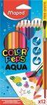 Maped Color Peps akvarell színes ceruzakészlet 12db-os, háromszögletű, ajándék ecsettel