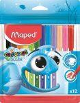 Filctoll készlet 12 db-os, 2 mm, kimosható, Maped Color Peps Ocean