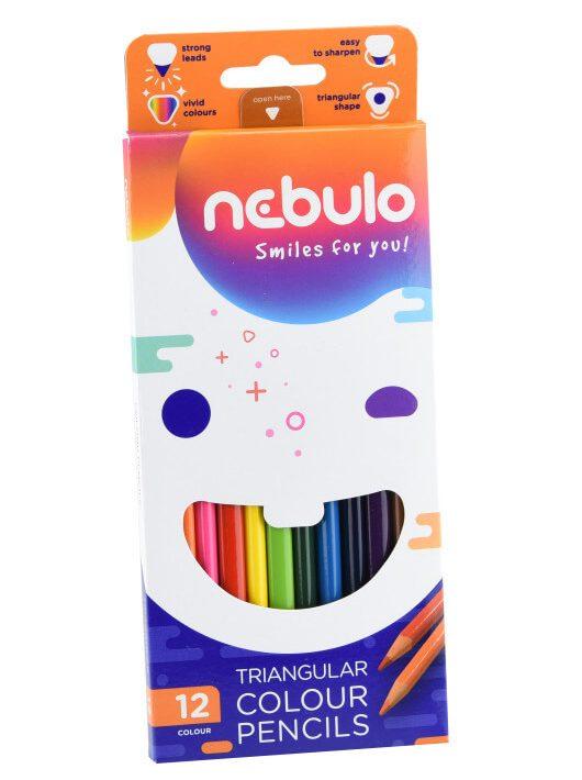 Színes ceruzakészlet 12 db-os, Nebulo, háromszög test