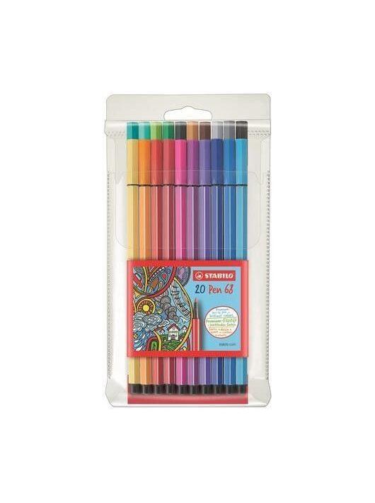 Filctoll készlet 20 db-os, 1 mm, Stabilo Pen 68
