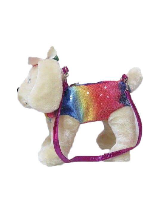 Doggie Star plüss golden retriever táska, szivárvány színű, 25cm