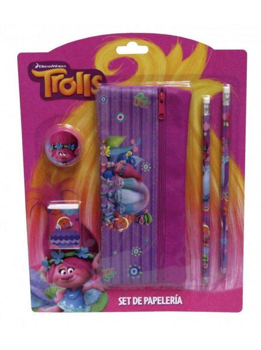 Trolls írószer, suli szett, 5 db-os (tolltartóval)