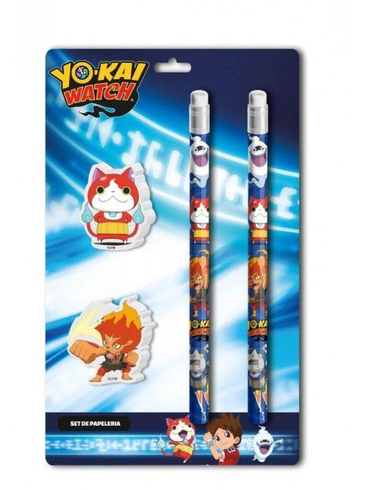 Yo-Kai őrzők írószer, suli szett, 4 db-os (2 db ceruza, 2 db radír)