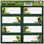 Dinoszaurusz füzetcímke 7 db/ív, többféle