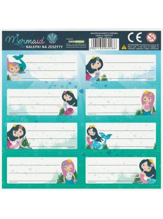 Mermaid - Hableány füzetcímke 8 db/ív, többféle
