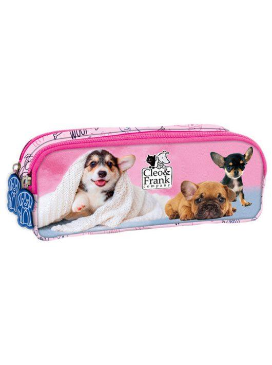 Cleo and Frank tolltartó, beledobálós, szögletes, CF29, kutyák, rózsaszín