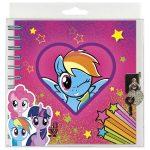 My Little Pony spirál napló kulccsal 16x16cm, többféle