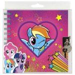 My Little Pony spirál napló kulccsal, 16x16 cm, többféle