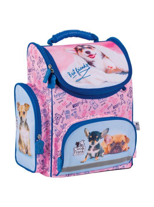 Cleo and Frank ergonómikus iskolatáska 37x27x16cm, CF29, kutyák, rózsaszín