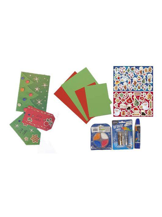 Karácsonyi ajándékkártya készítő szett (matrica, gyurma, glitter, ragasztó), Kidea