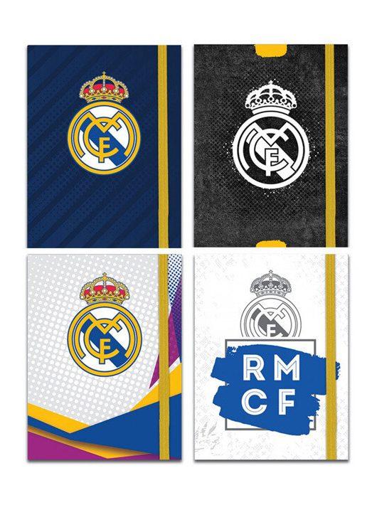 Real Madrid napló gumis pánttal, 13x10 cm, 4 féle minta