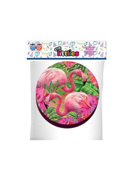 Flamingó papír tányér, 23cm, 6 db/csomag