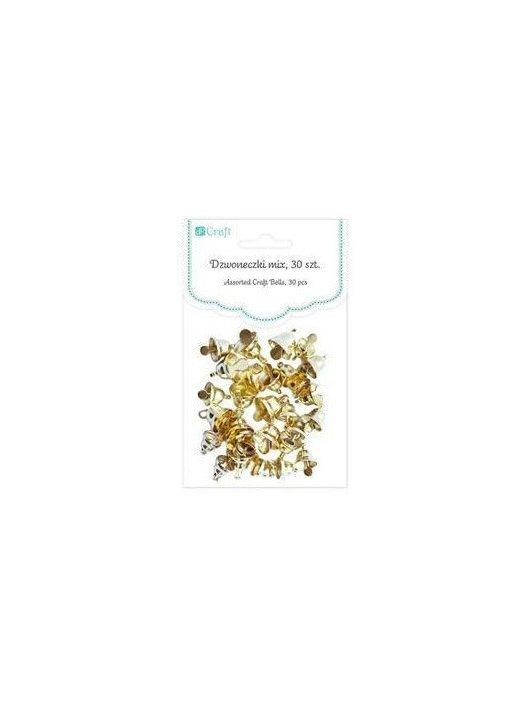 Harangok, fűzhető, 30 db/csomag, 6-10mm-es, arany színű