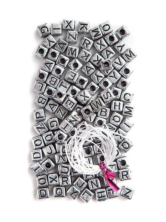 Betű gyöngyök, ezüst kocka, 124 db/csomag
