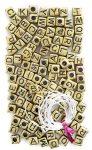 Betű gyöngyök, arany kocka, 124 db/csomag