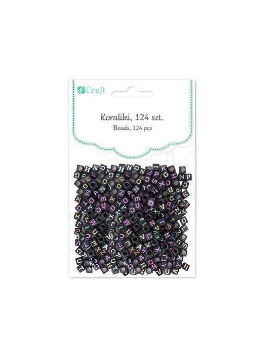 Betű gyöngyök, fekete kocka, 124 db/csomag