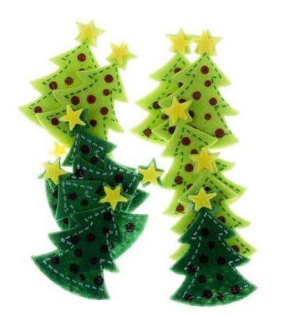 Filc formák, öntapadós, 3D karácsonyfák, 12 db/cs