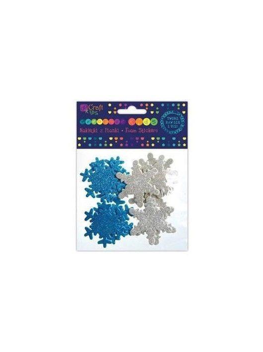 Dekorgumi, öntapadós, hópehely, csillogó, 12 db-os (kék és ezüst)