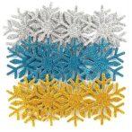 Dekorgumi, öntapadós, hópehely, csillogó, 12 db-os (ezüst, kék, arany)
